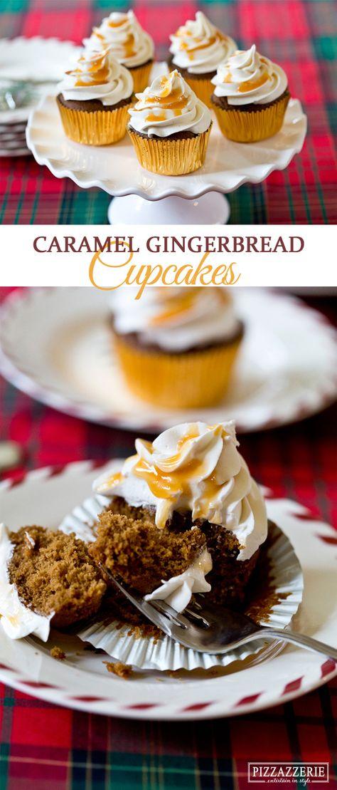 Caramel Gingerbread Cupcakes Recipe! SO good! on Pizzazzerie.com