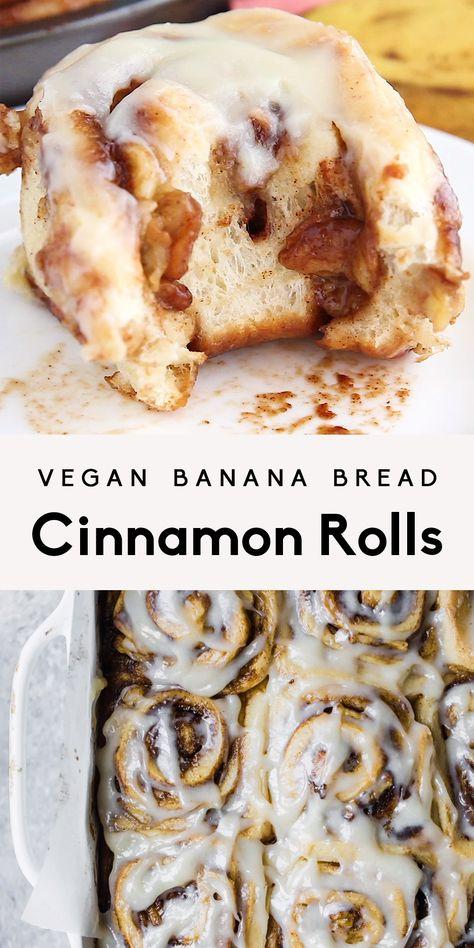 Meet the world's best vegan cinnamon rolls: vegan banana bread cinnamon rolls! These homemade vegan cinnamon rolls are like a cross between a cinnamon roll and banana bread. They're incredibly  fluffy, soft, and make a wonderful brunch or treat! #veganrecipe #cinnamonrolls #bananabread #vegan #dessert #brunch