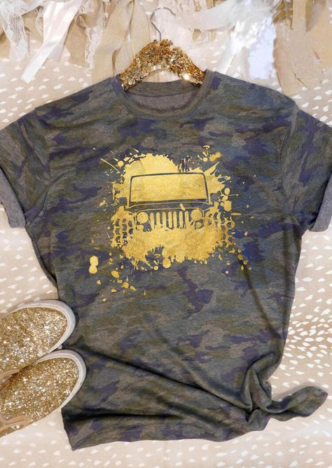 Camouflage Jeep O-Neck T-Shirt Tee - Bellelily Jeep Clothing, Woman Clothing, Jeep Gifts, Lacoste, Jeep Accessories, Wrangler Accessories, Clothing Packaging, Jeep Camping, Patterns