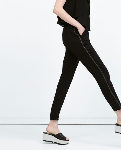 75fb47e3 ZARA - WOMAN - WIDE-LEG TROUSERS WITH ELASTIC WAIST | spring/ summer ...
