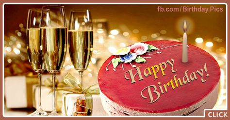Three Champagne Glasses Happy Birthday Card To Celebrate Happy Birthday Cards Happy Gif Happy Birthday