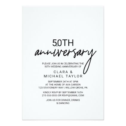 Whimsical Calligraphy Anniversary Invitation Zazzle Com