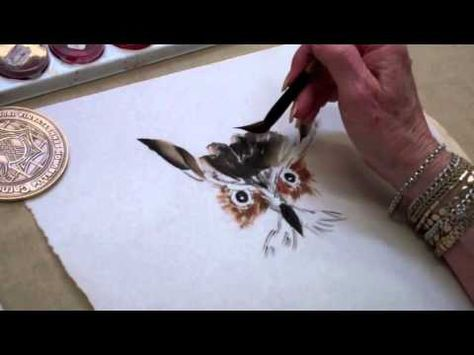 Art League instructor Betzi Robinson demonstrates painting a great horned owl for her class in sumi-é, or East Asian brush painting.     The Art League School in Alexandria, VA offers courses for beginning and advanced artists in all media. For more info, visit www.theartleague.org/school