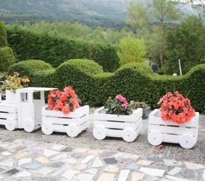Jardiniere Originale En Forme De Train 12 Idees Super Decoration Jardin Deco Jardin Jardins