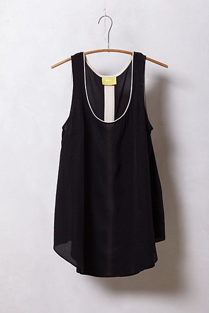 Piped Silk Tank #anthropologie // white jeans, jewelry & heels // black bag