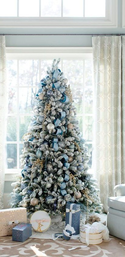 65 Christmas Tree Decoration Ideas And New Trends For 2019 2020 December Page 13 Of 65 Ladiesways Com Women Hairstyles Blog Blue Christmas Decor Flocked Christmas Trees Blue Christmas Tree