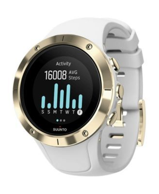Suunto Spartan Trainer Wrist Hr Gold White Silicone Band A Goldtone Bezel With A Digital Dial Reviews Watches Jewelry Watches Macy S