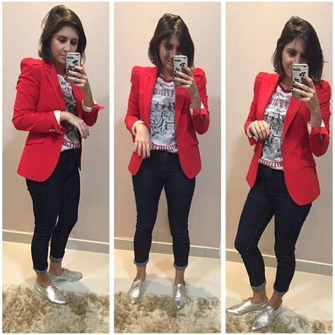 Red blazer, Printed tee, dark Jeans, Golden Rose shoes (for me) - Casual Outfit