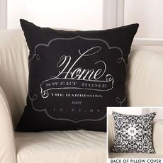 Black and White Brocade Throw Pillow Cover