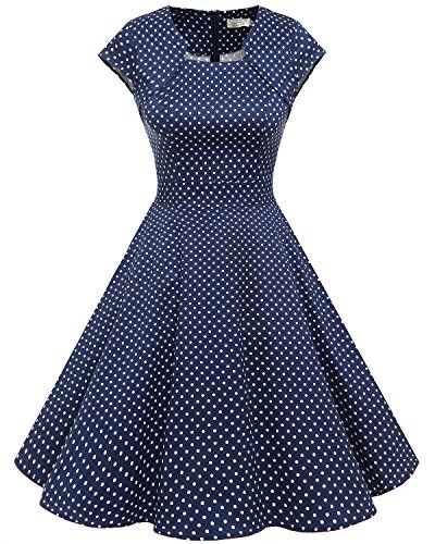 5e686229d9a3 Homrain Damen 50er Vintage Retro Kleid Party Kurzarm Rockabilly ...