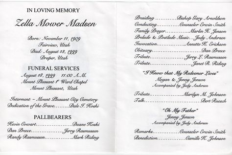 memorial service programs sample Mt Pleasant Obituary Page Zella - memorial service invitation wording