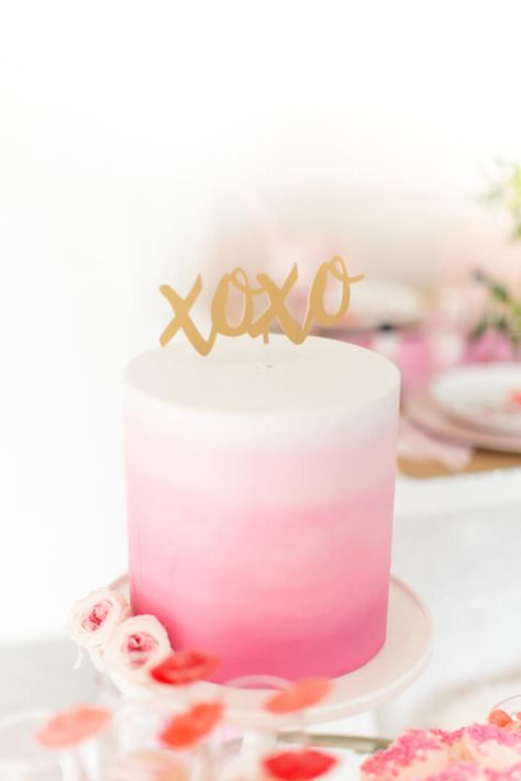 valentines day cake Pink Ombre Cake with XOXO Cake Topper from Galentines Day Party Styled by Celebration Stylist Cake Pink, Pink Ombre Cake, Pink Birthday Cakes, 18th Birthday Cake, Birthday Cake Toppers, Cake Decorating Designs, Cake Designs, Hombre Cake, Bolo Barbie