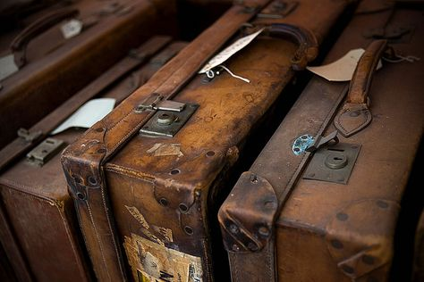 I'm liking old brown it's got a hogwarts feel Vintage Suitcases, Vintage Luggage, Vintage Travel, Remus Lupin, Old Luggage, Leather Luggage, Leather Suitcase, Leather Bags, Brown Aesthetic