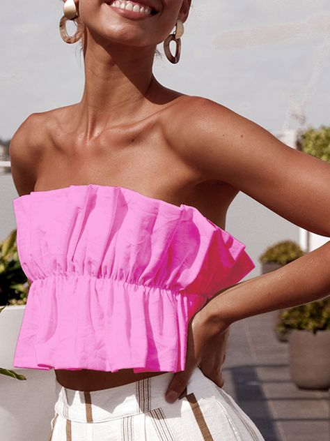 Bandeau Casual Tube Crop Top Off Shoulder Vest Women Strapless Tees Ruffles Camis Color black Size S Strapless Crop Top, Backless Top, Sleeveless Tops, Top Dos Nu, Summer Crop Tops, Couture, Cute Outfits, Tanks, Tank Tops