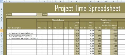 Get Project Time Spreadsheet Template Excel With Images Excel