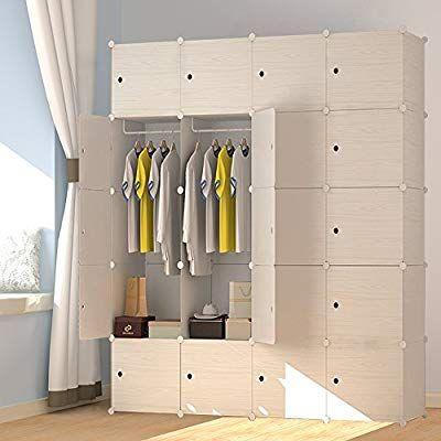 Megafuture Wood Pattern Portable Wardrobe Closet For Hanging