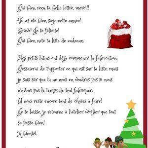 Télécharger modèle de lettre, la réponse du Père Noël et de