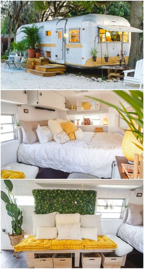 14 gorgeous Airstream trailers to rent for your next vacation. Remodeled 1971 Empress Airstream in Bradenton, Florida. Van Living, Tiny House Living, Small Living, Home And Living, Airstream Renovation, Airstream Interior, Trailer Park, Home Trailer, Tiny House Trailer
