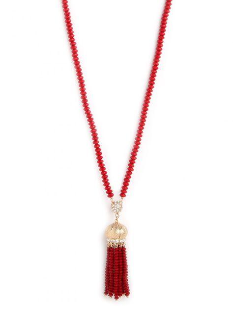 red tassel pendant necklace / baublebar