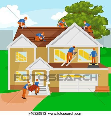Roof Construction Worker Repair Home Build Structure Fixing Dinner On A Rooftop Vector Illustration Vector Premi In 2020 Residential Roofing Roof Construction Roofing