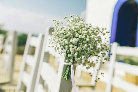 For the wedding ceremony we decorated the guests chairs with bouquets of baby's breath | Hydra Wedding Planner & Designer: @mitheoevents Photo: @mindartphotography Venue: @fourseasonshydr | #mitheoevents #weddingplannergreece #destinationweddinggreece #athensweddingplanner #luxuryweddinggreece #hydrawedding #mediterraneanwedding #rusticwedding #babysbreath #weddingdecor #weddingflorals #ceremonychairs #guestchairs #weddingceremony #summerwedding #islandwedding