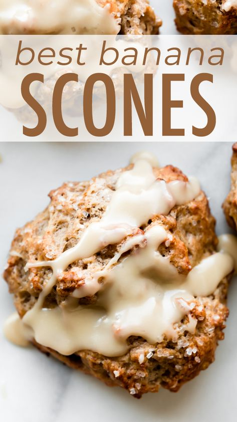 Deliciously moist and flaky banana bread scones with maple icing! Banana nut scones recipe uses butter, cream, mashed bananas, and brown sugar. Recipe on sallysbakingaddiction.com