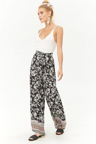 Plus Size Wide Leg Pants With 2 Pockets Multi Color Plaid Patched Floral Printed Boho Loose Pants Solid Blue Cotton Wide Legs Pants