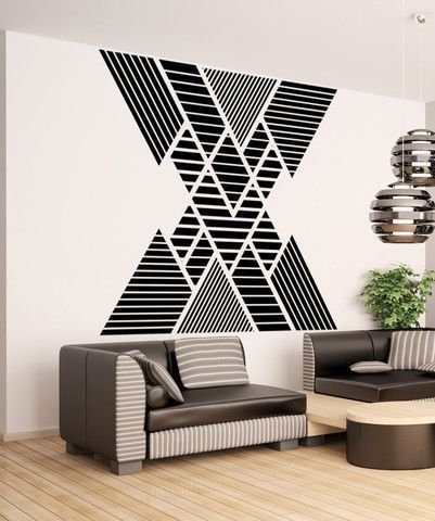 Geometric Pattern Double Vision Mountain Wall Decal Os Mb1248 Home Wall Decor Interior Home Decor