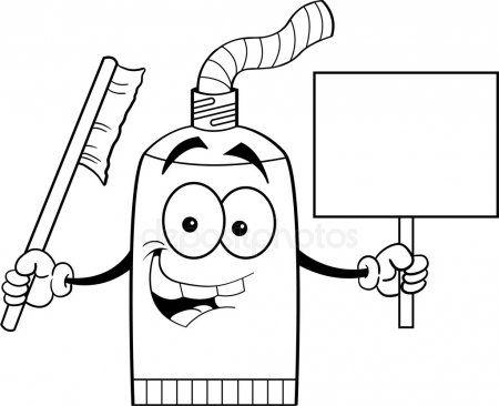 Tubo De Crema Dental De Dibujos Animados Con Un Cartel Cepillos De Dientes Dibujos Animados Dibujos