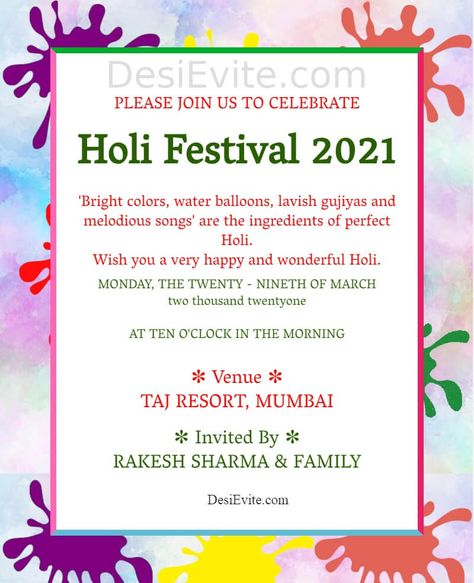 Holi Invitation Card Color Splash Theme
