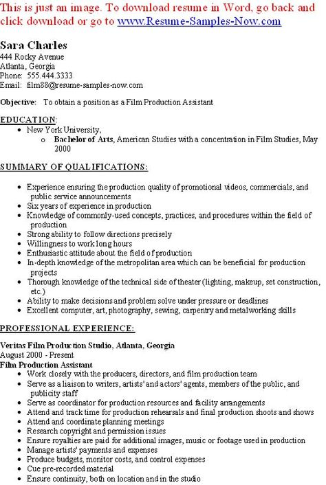 Film Production Assistant Resume Template - http\/\/www - film resume template