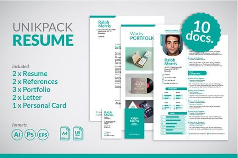 Nice Horizontal, 4 Pages Resume CreativeWork247 - Fonts, Graphics - pages resume templates