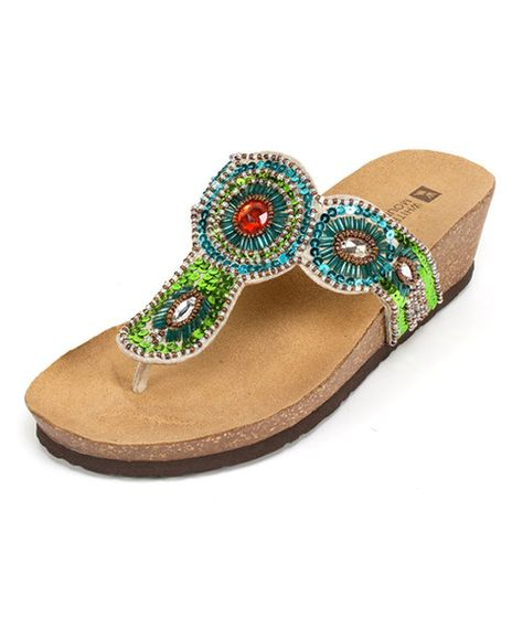 Take a look at the White Mountain Green Blast Wedge Sandal on #zulily today!