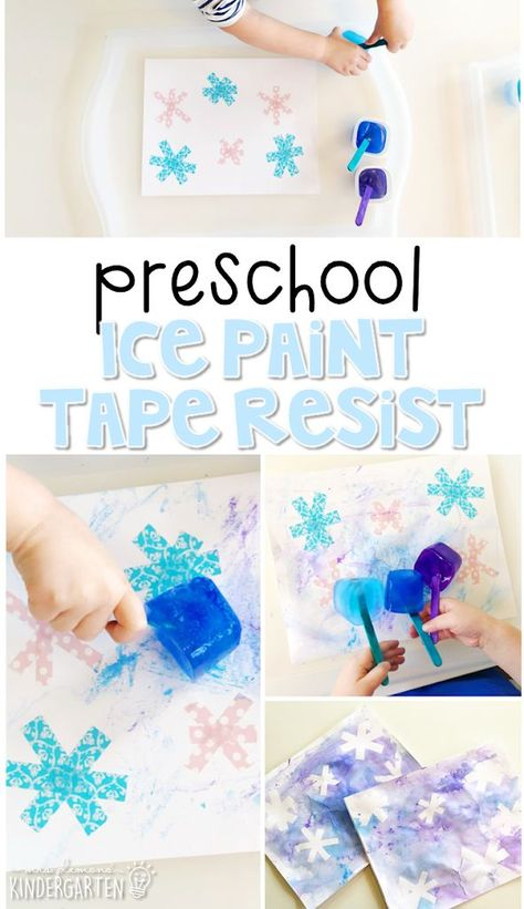 Preschool: Winter Preschool: Winter snowflake art idea created with tape resist ice cube painting. Perfect process art project for toddlers and preschoolers Process Art Preschool, Preschool Art Projects, Toddler Art Projects, Preschool Lesson Plans, Toddler Preschool, Preschool Routine, Preschool Art Lessons, Preschool Painting, Classroom Crafts