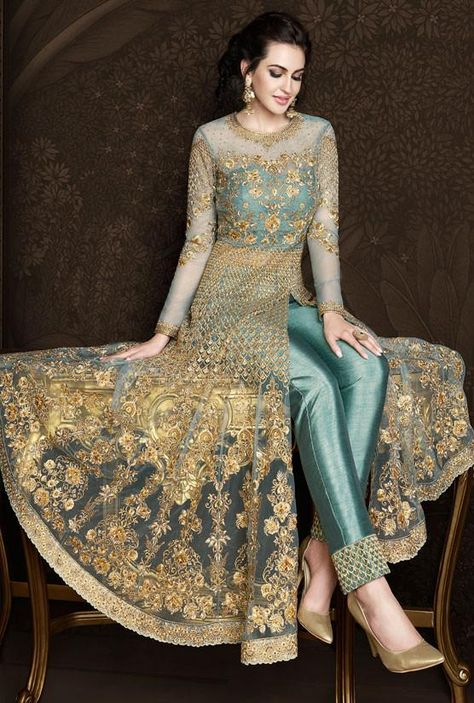 Likable Teal Green Anarkali Suit In Net SF01915 Net Anarkali suit with salwar suit and dupatta. Heavy handcrafted work with stonework. Semi-Stitched can be stitched up to bust 32- 44 in (UK Size 8-18).