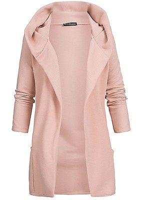 Styleboom Fashion Damen Long Hooded Cardigan rosa Art. Nr