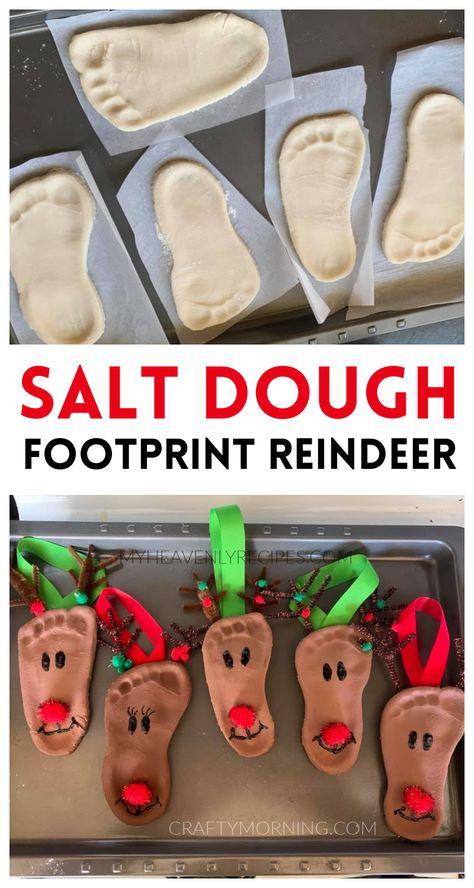 Salt Dough Footprint Reindeer Ornaments