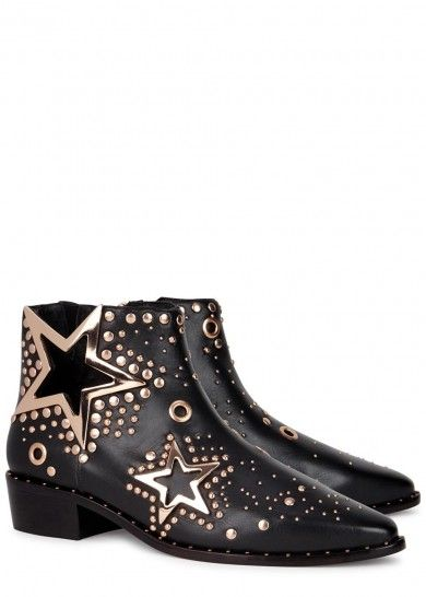 UK exclusive to Harvey Nichols Ivy Kirzhner black leather ankle boots Heel measures approximately 1.5 inches/ 40mm 18kt rose gold-plated cut-out stars, studs and eyelets, pointed toe Zip fastening at side Come with dust bag