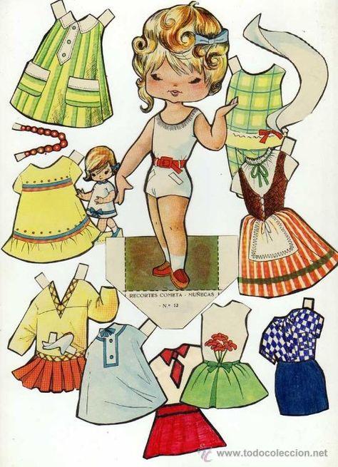 Antiguo recortable de muñecas. Cometa. Nº 12. Recortado en - Foto 1