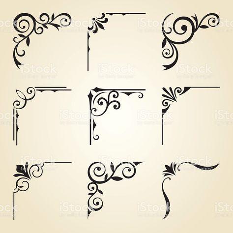 Vector illustration of decorative corner frame set. - - Vector illustration of decorative corner frame set. Wood Burning Crafts, Wood Burning Patterns, Wood Burning Art, Stencil Patterns, Stencil Art, Stencil Designs, Tangle Patterns, Stenciling, Watercolor Unicorn