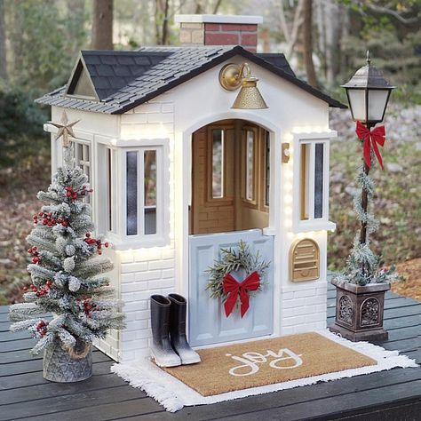 Ellison Made renovated her Little Tikes Cape Cottage Playhouse™ to emulate a classic home in the midst of a white Christmas.