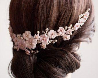 Coiffe Mariage Bouquet Floral Sakura Peigne Fleuri Rose Et Blush Ornement De Coiffure Mariage Fleurs Et C Fleur Cheveux Coiffes De Mariage Coiffure Mariage