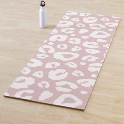 Pastel Pink White Animal Print Pattern Yoga Mat Zazzle Com