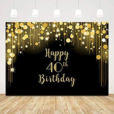 Allenjoy 7x5ft Fabulous 40th Birthday Backdrops Happy Forty Years Old Adult Women Prom Black White Stripe Gold Glitter Pink Paper Flower Banner Party Decoration Supplies Props Photo Booth Background