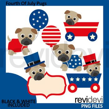 Us Independence Day 4th July Pugs Clipart Pug Clipart Us Independence Day Clip Art