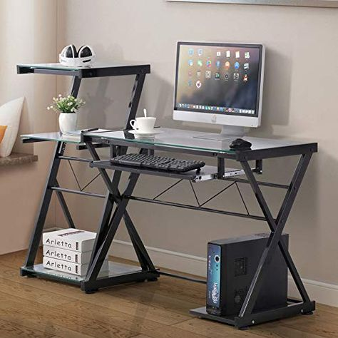 Home Office Desk Computer PC Writing Table WorkStation Glass Student Furniture