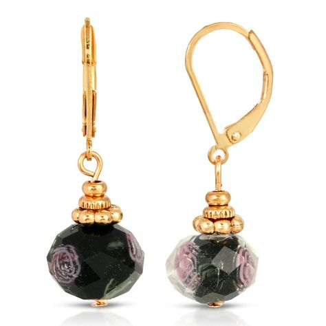 Satin Glass Bead Porcelain Rose Necklace Earring set 1928 Brand Gold tone