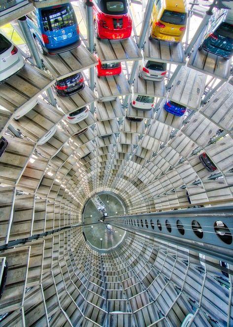 A huge Volkswagen robotic vending machine in Germany...# #TreyRatcliff #VW #Volkswagen #Car #Robot