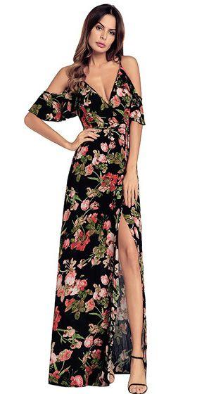 b55abce19016 Compre Vestido Longo Floral Ombro Vazado com Fenda - UFashionShop ...
