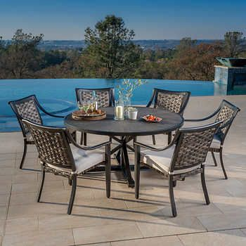 Colonial 7 Piece Dining Set In 2020 Patio Dining Set Outdoor Patio Decor Patio Pavers Design